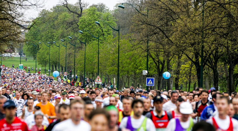 Paris Marathon runners pass through Bois de Vincennes