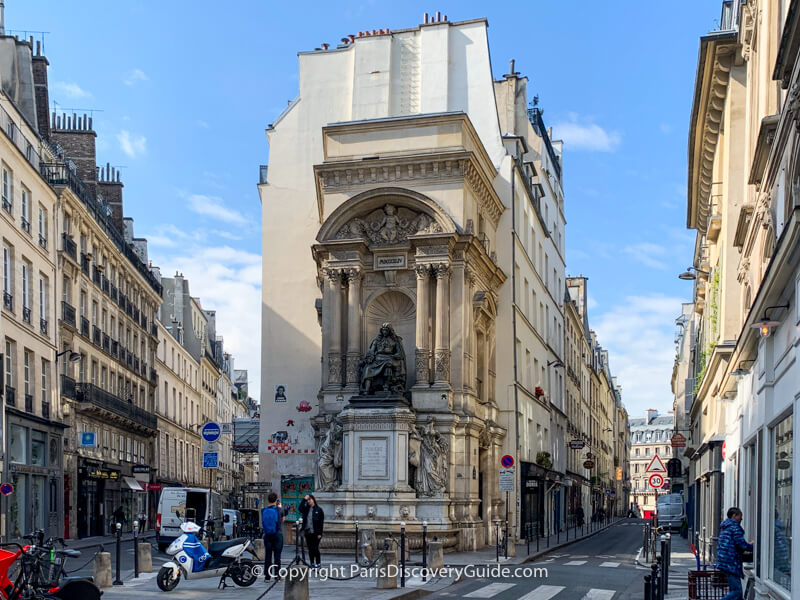 Moliere Fountain where Rue Moliere and Rue de Richelieu merge together in Paris's 1st arrondissement