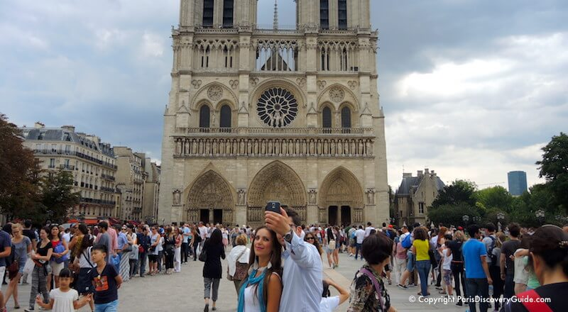 Paris in July - crowds in front of Notre Dame