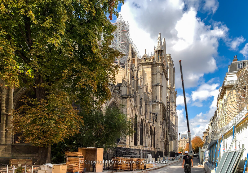Restoration work on Notre Dame after the fire - photographed from Rue Chanoinesse
