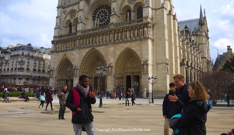 Paris in early February in front of Notre Dame