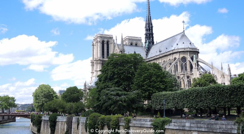 Notre Dame Cathedral next to the Seine River in Paris