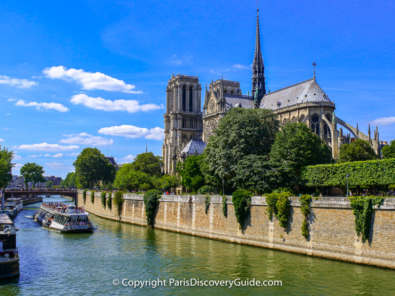 Notre Dame Cathedral viewed from the Left Bank of Paris before the fire