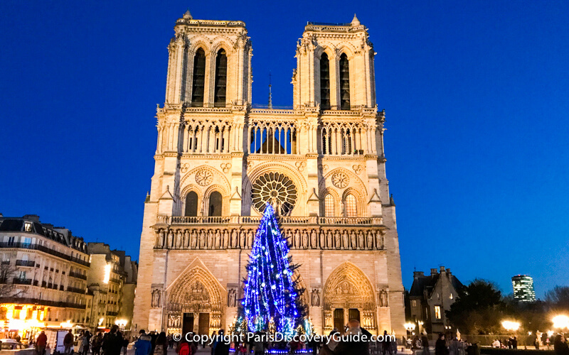 Lighted Christmas tree in front of Notre Dame Cathedral, Paris