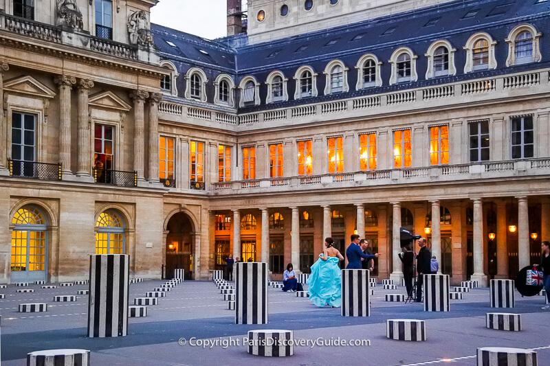 A fashion photo shoot at the Palais Royal courtyard