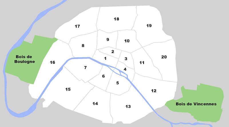 Paris arrondissements map