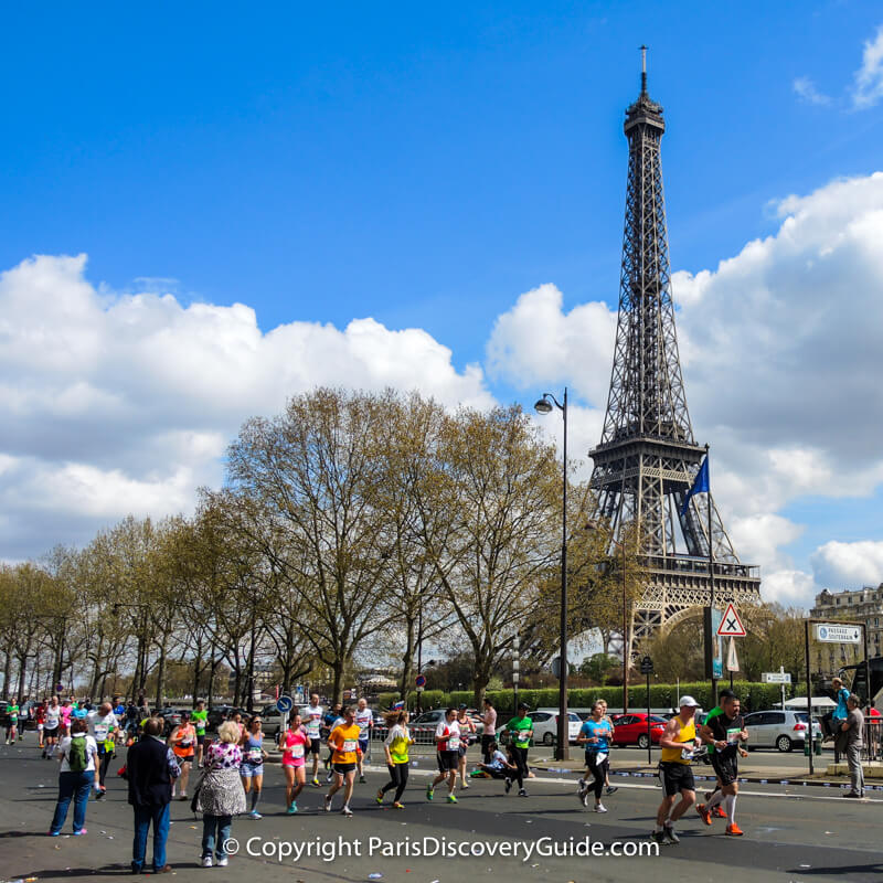 Paris Marathon, with iconic Eiffel Tower views in the background