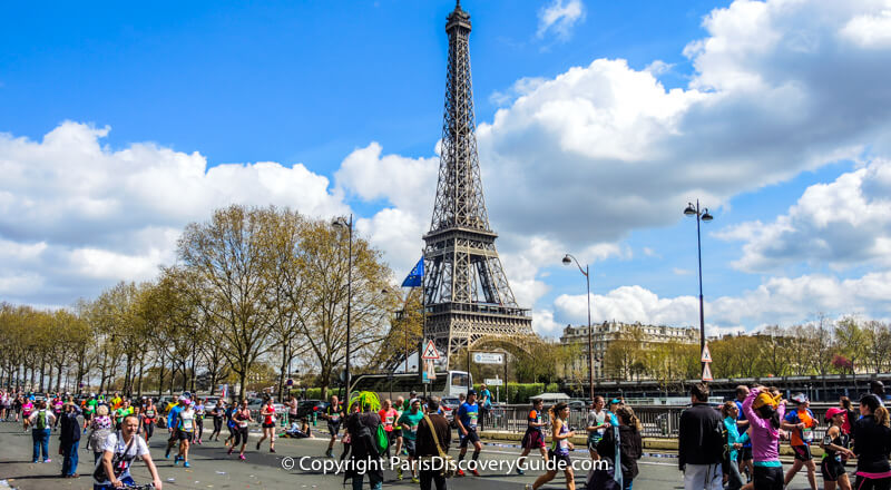 Paris Marathon - top April event - with Eiffel Tower in the background