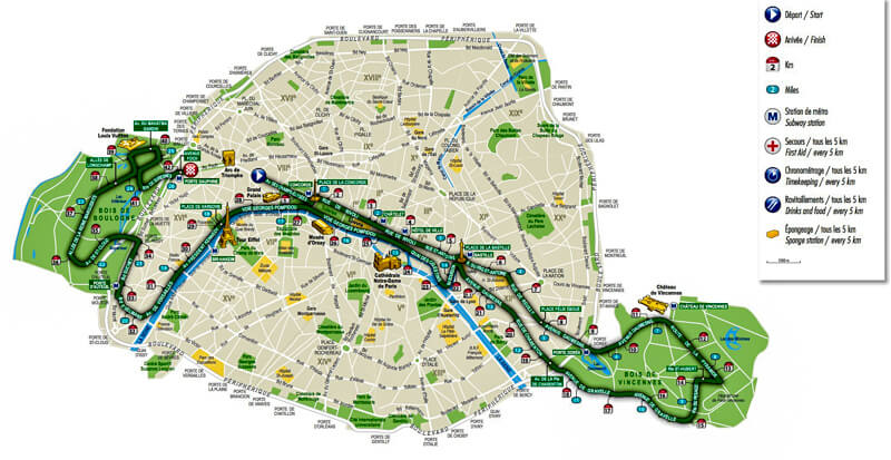 Paris Marathon race course, with markers showing miles and kilometer