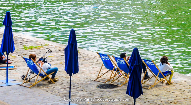 "Enjoying Paris Plages from a ""beach"" overlooking the Seine"