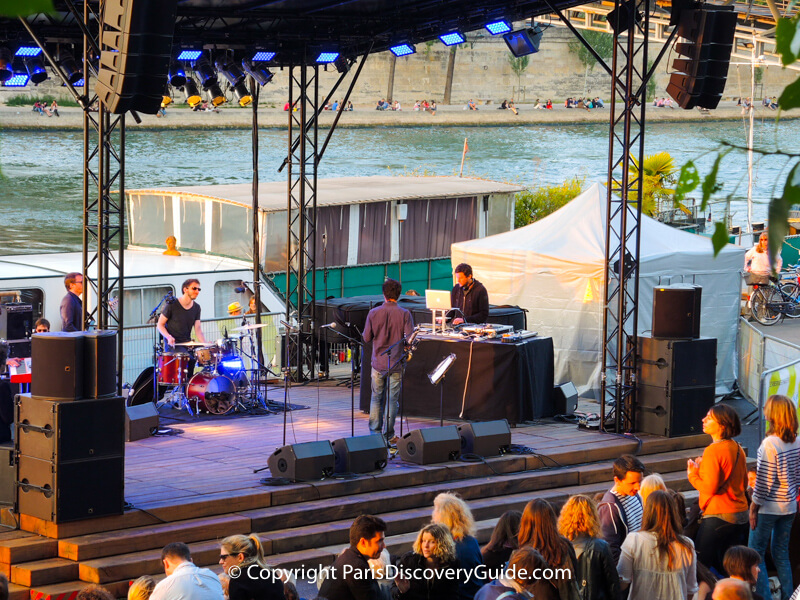 Free concert on the Left Bank beach during Paris Plages