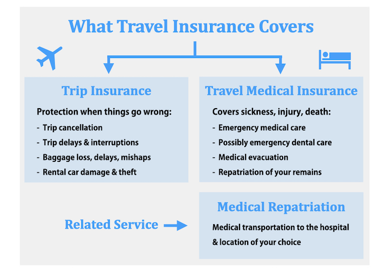Infogram showing what travel insurance covers