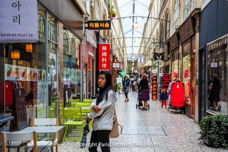 Korean boutiques in Passage Choiseul in Paris's Japanese/Korean district