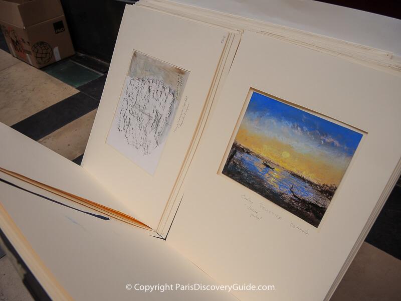 A portfolio of original art at Passage Verdeau in Paris 9