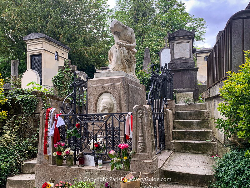 Chopin's grave at Pere Lachaise Cemetery