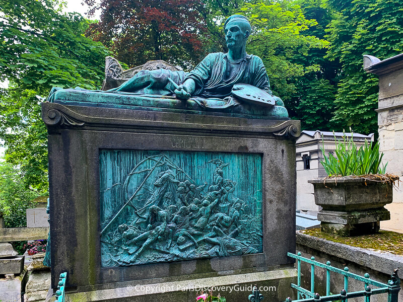 Sculpture of French painter Theodore Géricault on top of his tomb
