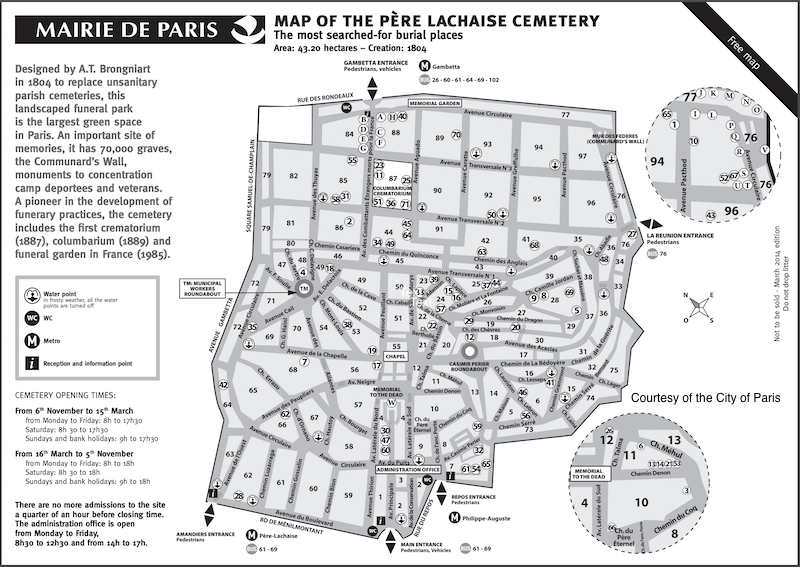 The official English language version of the Pere Lachaise Cemetery map, provided by the City of Paris