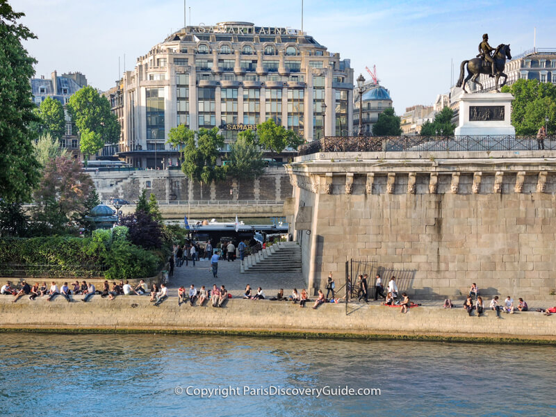 Square du Vert-Galant overlooking the Seine and statue of Henri IV on horseback looking toward Place Dauphine