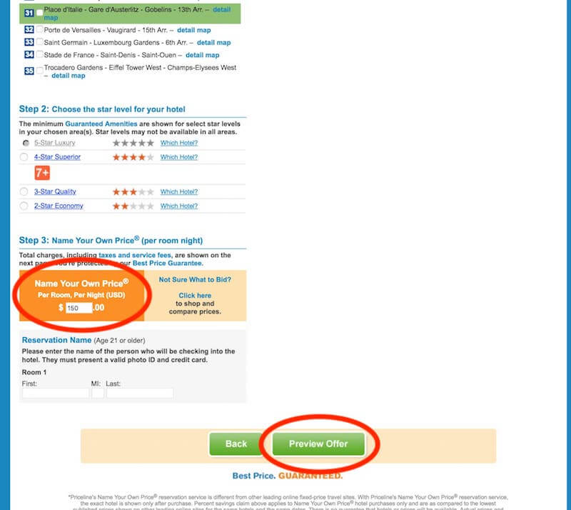 Priceline - where to name your own price