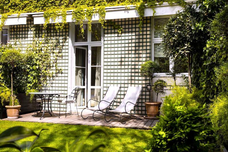 Private terrace at Relais Christine in the 6th arrondissement