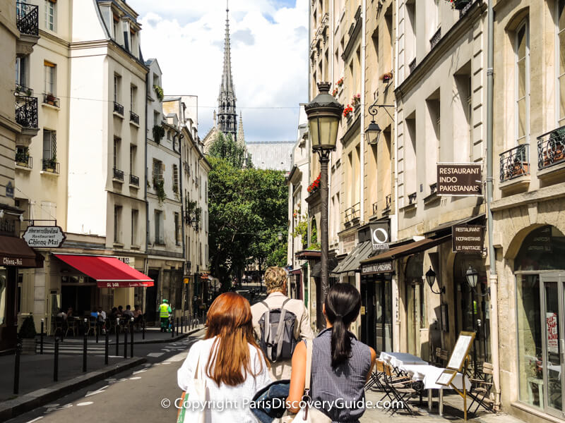The Latin Quarter:  Walking down Rue Frederic Sauton toward Notre Dame