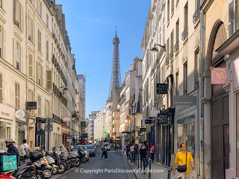 View of the Eiffel Tower on Rue Sainte Dominique in the 7th arrondissement