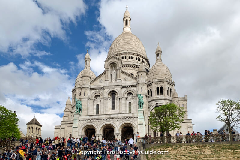 Sacre Coeur Basilica in Montmartre on the highest peak in Paris