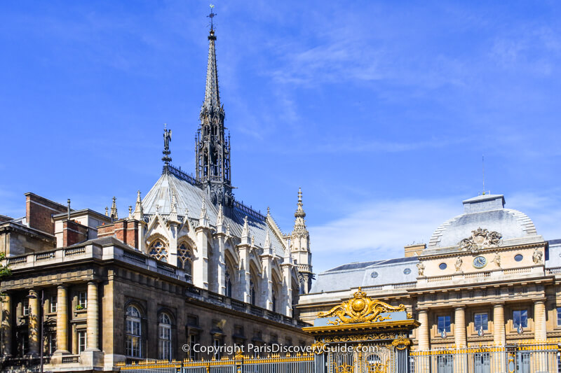 Steeple and spires of Sainte Chapelle behind the Palais de Justice