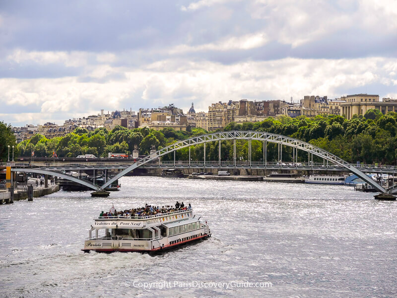 Skyline view of Paris's Right Bank and Passerelle Debilly (footbridge) over the Seine River