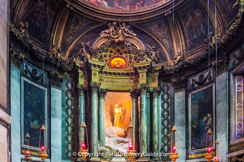 Statue of Mary and Baby Jesus at Saint Sulpice Church