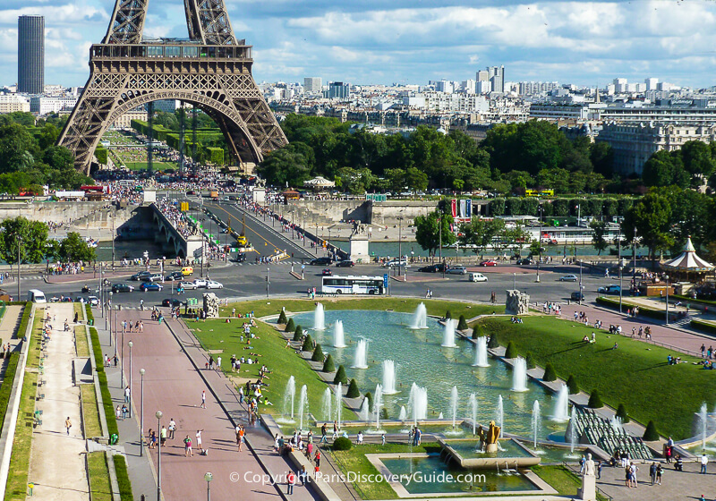 Trocadero fountains and plaza across from the Eiffel Tower