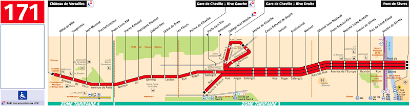 Schedule for the 171 bus between Pont de Sevres and Versaille Chateau Rive Gauche