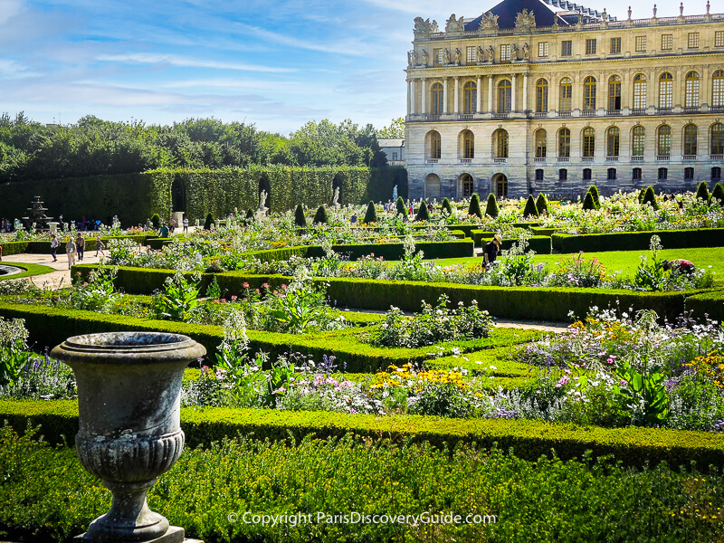 View of formal gardens at Palace of Versailles