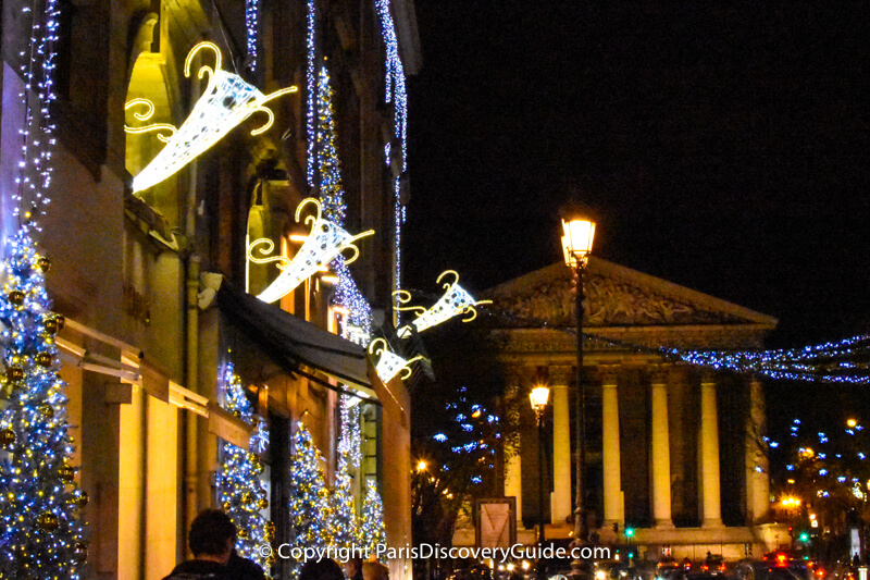 Christmas lights on Rue Royale and at Madeleine Church