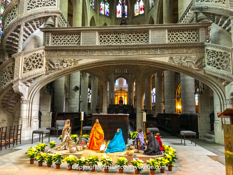 Christmas Advent display in Notre Dame Cathedral
