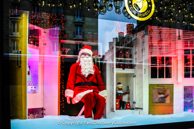 A jolly Santa in Bon Marché's window