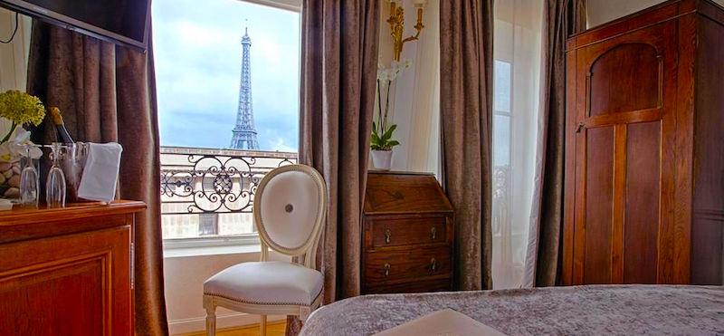 View of the Eiffel Tower (across the top of the Palais de Chaillot) from Hôtel Eiffel Trocadéro
