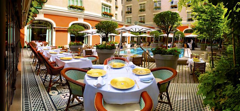 Swimming pool and terrace at Le Royal Monceau Raffles