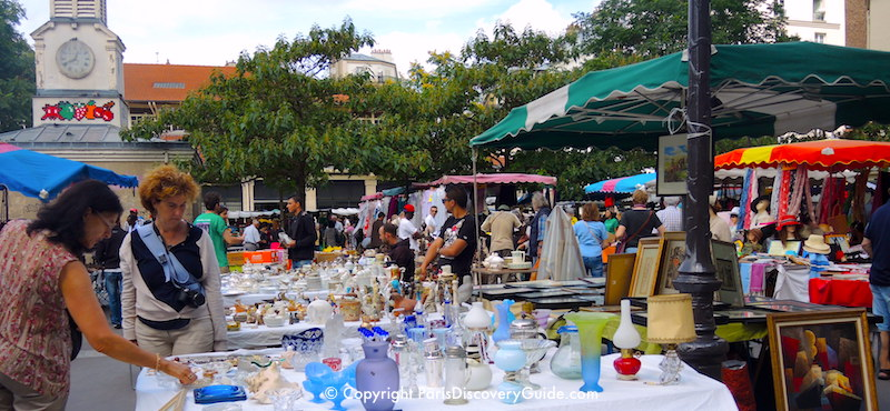 Marché d'Aligre, the most popular flea market inside the Paris city limits, in the 12th Arrondissement