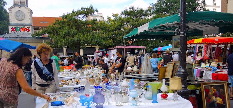 Marché d'Aligre, the most popular flea market inside the Paris city limits, in the 12th Arrondissement