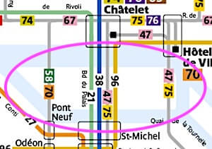 Bus line map for Ile de la Cite