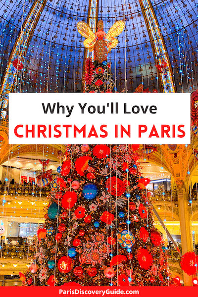 Christmas tree under the stained glass dome in Galeries Lafayette in Paris