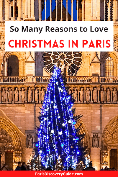 Lighted Christmas tree in front of Notre Dame Cathedral (before the fire) in Paris