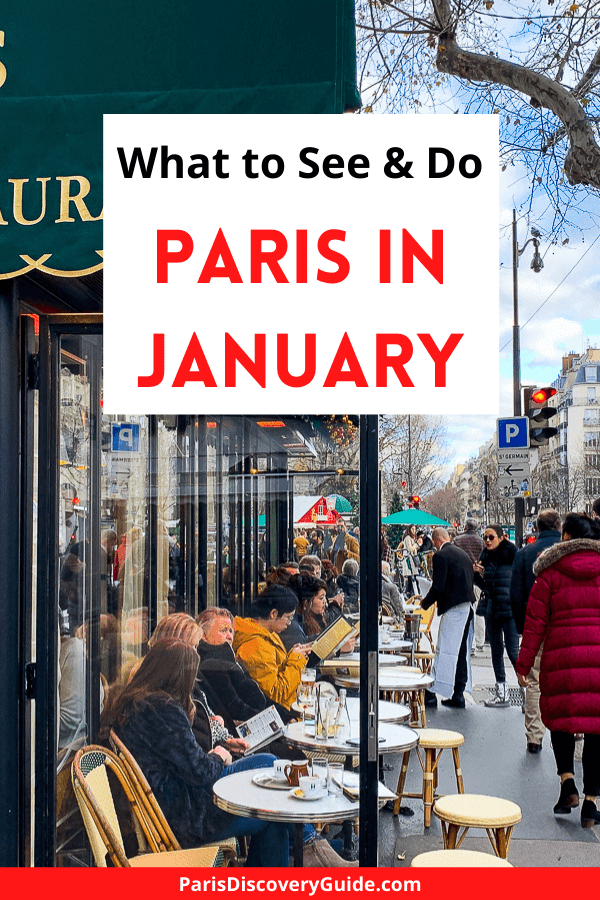 Sidewalk dining at Les Deux Magots in Paris in January