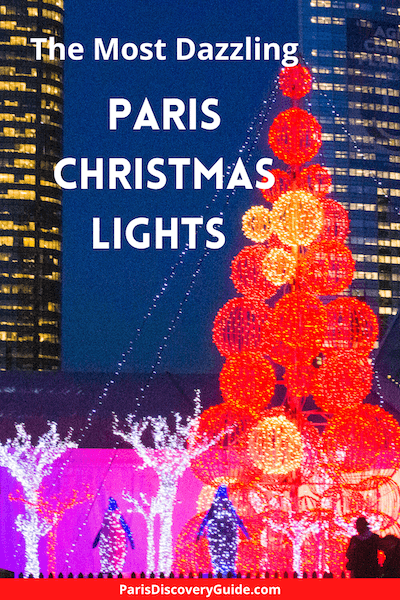 Lighted Christmas decorations at La Defense, Paris