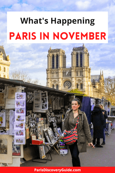 Bouquinistes (book and souvenir sellers) on Paris's Left Bank in early November