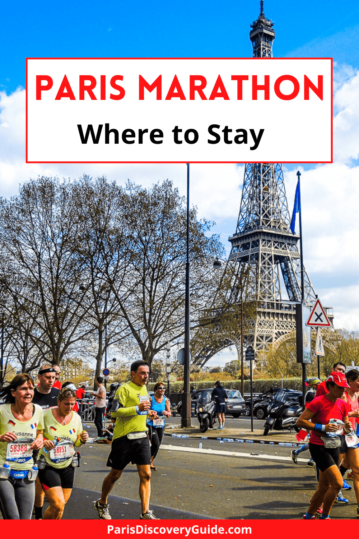 Paris Marathon runners passing the Eiffel Tower