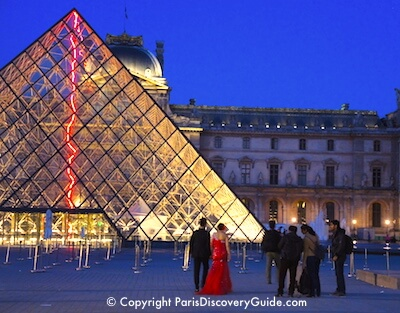 Glass pyramid at the Louvre at night
