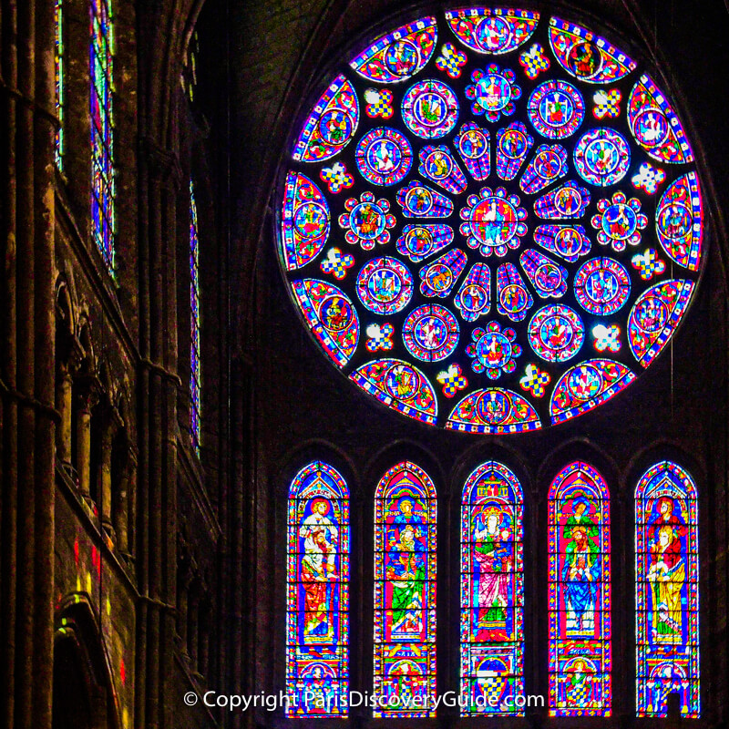 South rose window in Chartres Cathedral depicts the Apocalypse