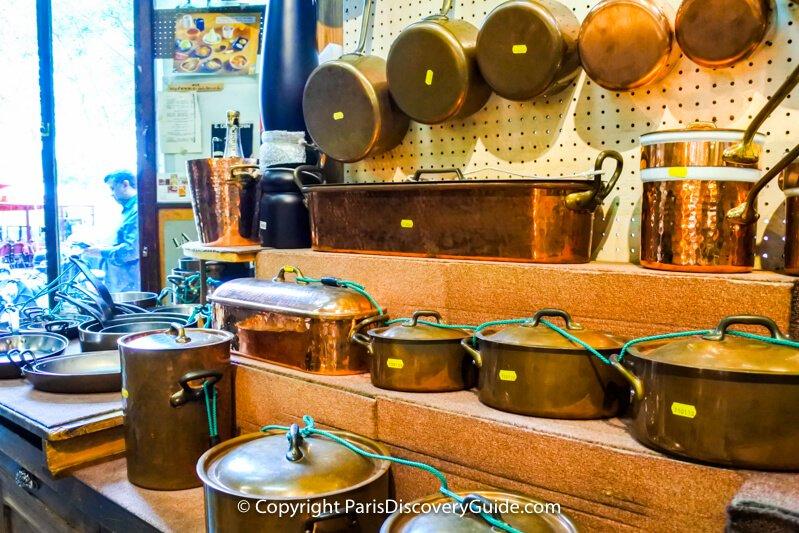 Copper cookware at Dehillerin in Paris's Les Halles neighborhood